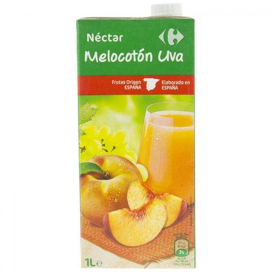 Néctar de melocotón y uva Carrefour brik 1 l. - 1