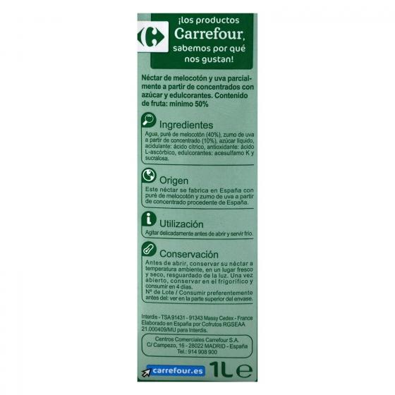 Néctar de melocotón y uva Carrefour brik 1 l. - 3
