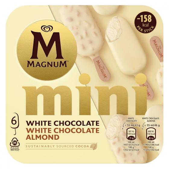 Mini bombón helado White, Almond, White Magnum sin gluten 6 ud.