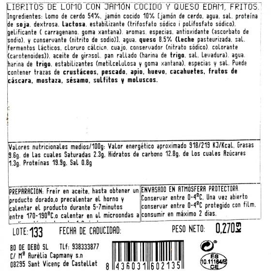 Librito de jamón y queso Bo de Debó 230 g - 1