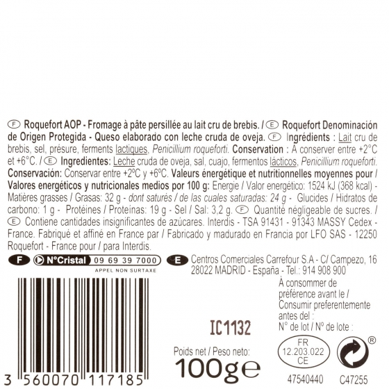 Queso Roquefort  D.O.P Carrefour cuña 100 g - 1