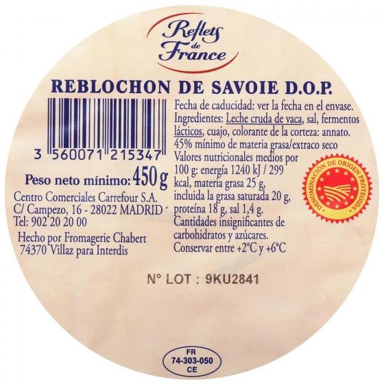 Queso reblochon de savoie A.O.P. leche cruda Reflets de France 400 g - 1