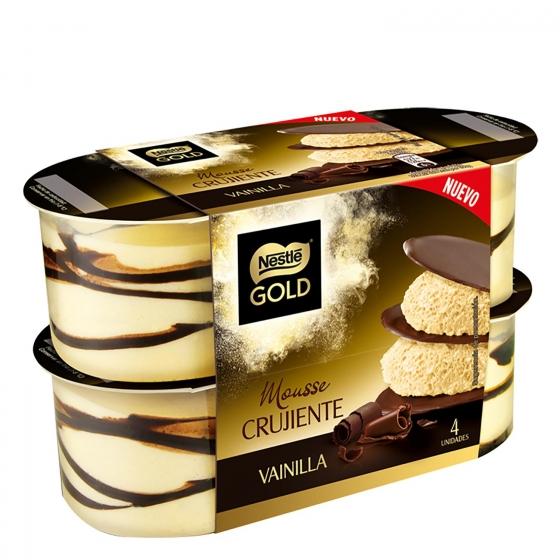 Mousse de vainilla crujiente Nestlé Gold pack de 4 unidades de 100 g.