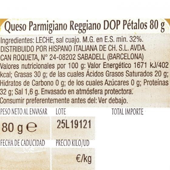 Queso parmigiano reggiano D.O.P. pétalos Hispano Italiana 80 g - 3