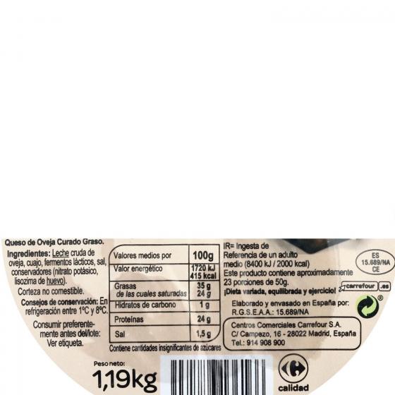 Queso curado puro de oveja mini Carrefour pieza de 1 Kg aprox - 3