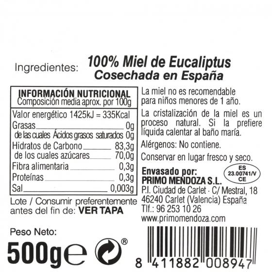 Miel artesana de eucaliptus monofloral Primo Mendoza 500 g - 3