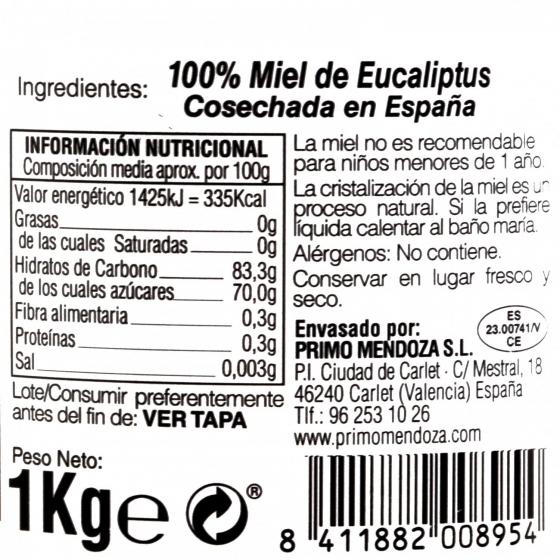Miel artesana de eucaliptus monofloral Primo Mendoza 1 Kg - 3