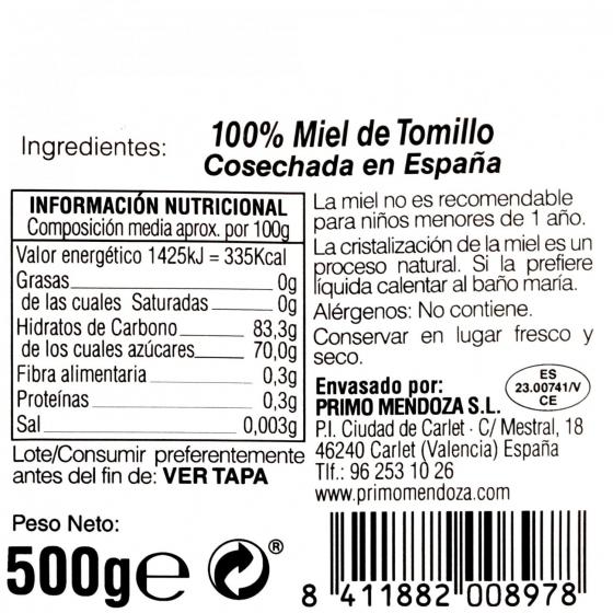 Miel artesana de tomillo monofloral Primo Mendoza 500 g - 3