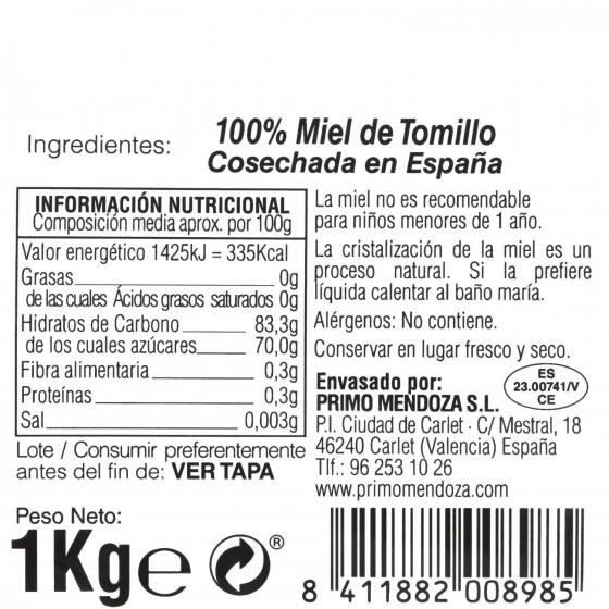 Miel artesana de tomillo monofloral Primo Mendoza 1 Kg - 3
