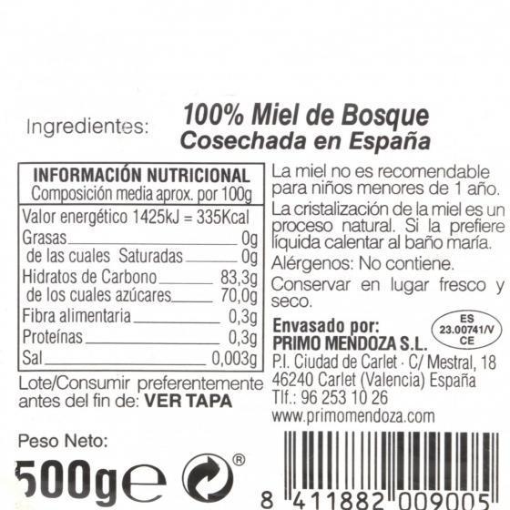 Miel artesana del bosque monofloral Primo Mendoza 500 g - 3