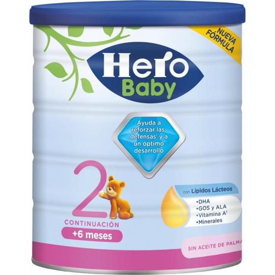 Leche infantil de continuación desde 6 meses en polvo Hero Baby Nutrasense 2 lata 800 g.