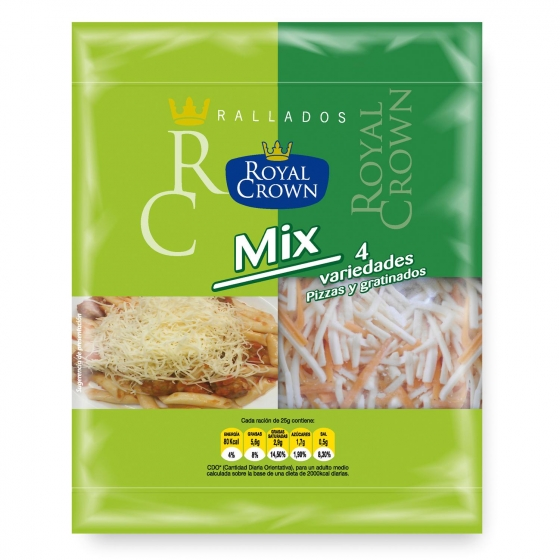 Queso rallado mix 4 variedades Royal 115 g.
