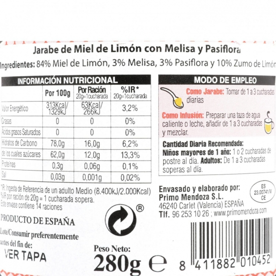 Jarabe de miel casero: miel de bosque, propóleo, eucaliptus, limón, Primo Mendoza 250 g - 3