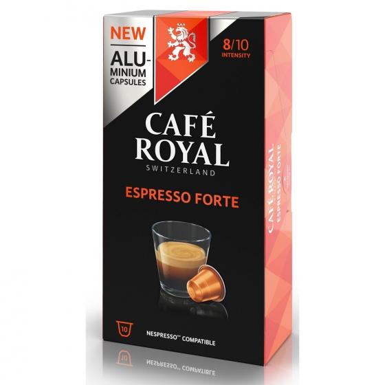 Café espresso forte en cápsulas Royal compatible con Nespresso 10 unidades de 5 g.