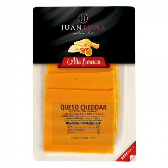 Queso cheddar en lonchas Juan Luna 200 g.