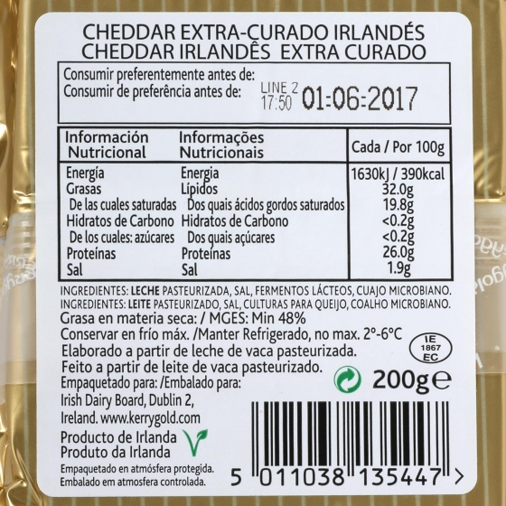 Queso cheddar blanco curado extra mature Kerrygold 200 g - 3