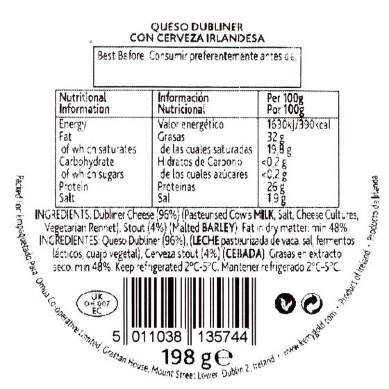 Queso cheddar blanco curado dubliner a la cerveza negra Kerrygold 200 g - 1