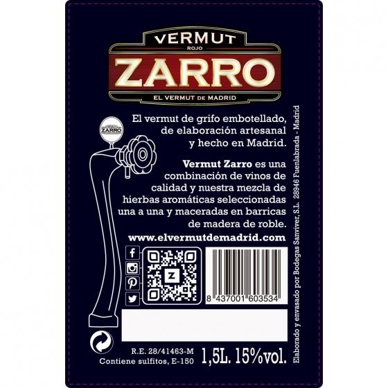 Vermut Zarro rojo de grifo 1,5 l. - 1