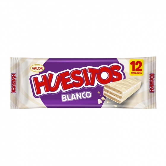 Barrita de barquillo cubierta de chocolate blanco Huesitos Valor 12 ud.