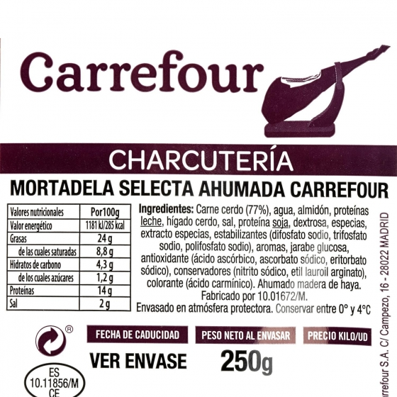 Mortadela selecta ahumada loncheada Carrefour 250 g - 3