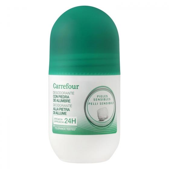 Desodorante roll-on 24h para piel sensible sin alcohol Carrefour 50 ml.