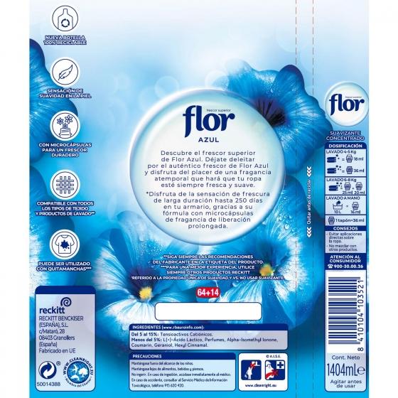 Suavizante concentrado azul Flor 64 lavados. - 1