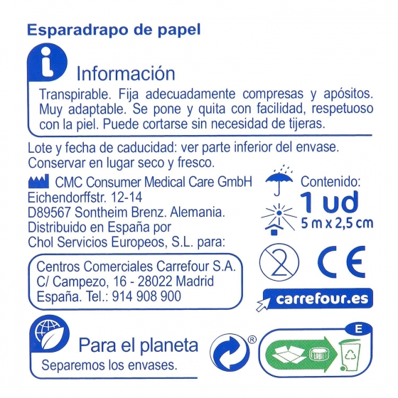Esparadrapo de papel para pieles sensibles Carrefour 1 ud. - 1