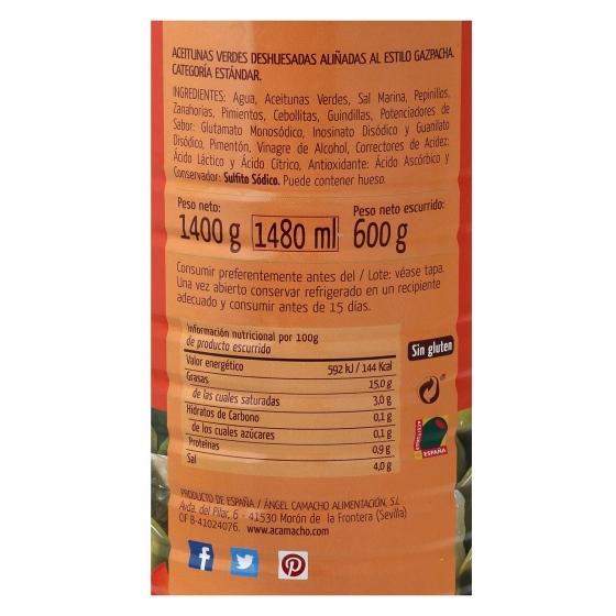 Aceitunas gazpacha sin hueso Fragata 600 g. - 1
