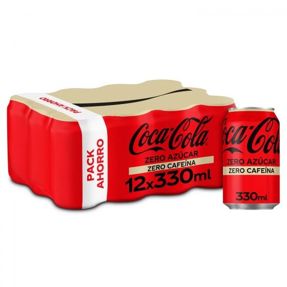 Refresco de cola Coca Cola zero sin cafeína pack de 12 latas de 33 cl.