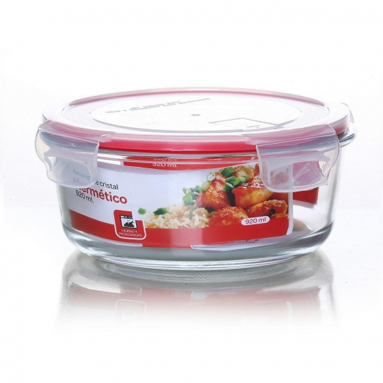 Recipiente Hermético Redondo de Cristal 0,92 L. - Transparente