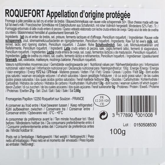 Queso azul roquefort Papillón rojo D.O.P. Iberconseil al corte  150 g aprox - 1
