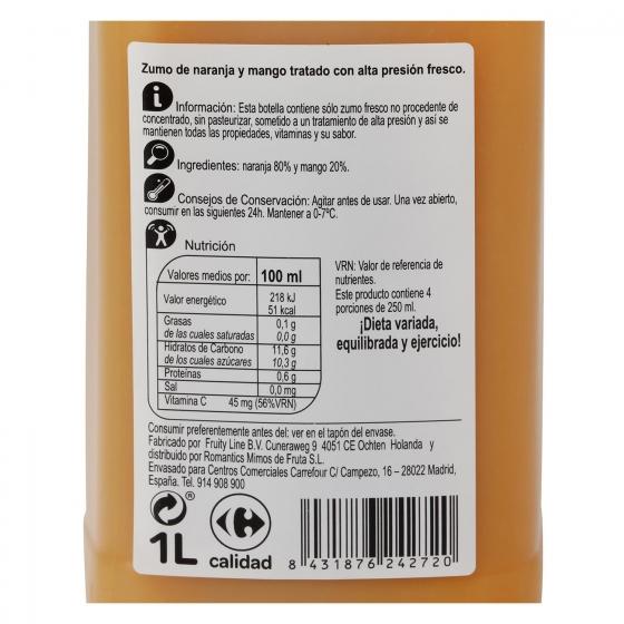 Zumo de naranja y mango Carrefour botella 1 l. - 1