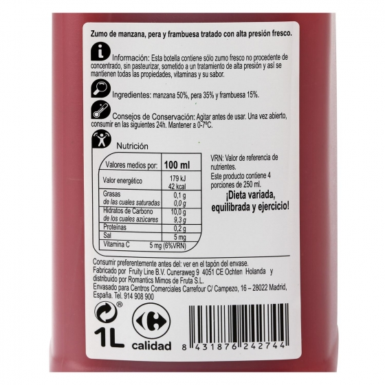 Zumo de manzana, pera y frambuesa Carrefour botella 1 l. - 1