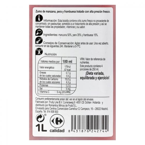 Zumo de manzana, pera y frambuesa Carrefour botella 1 l. - 3