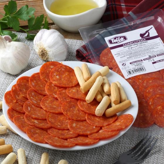 Chorizo curado Pepperoni loncheado Tello 75 g - 1