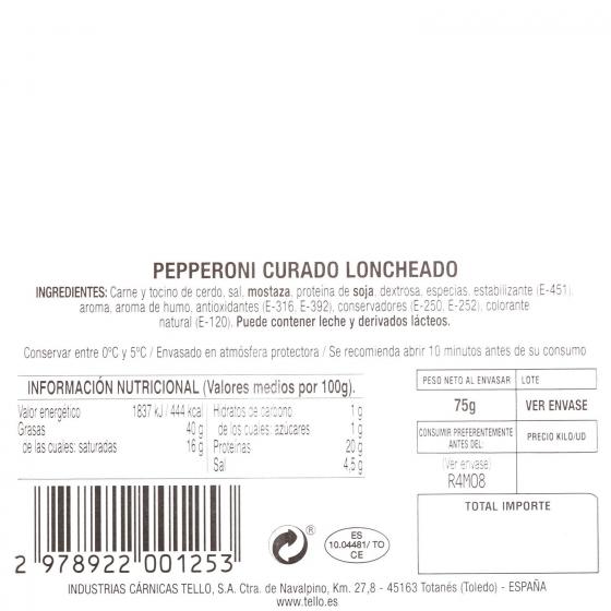 Chorizo curado Pepperoni loncheado Tello 75 g - 3