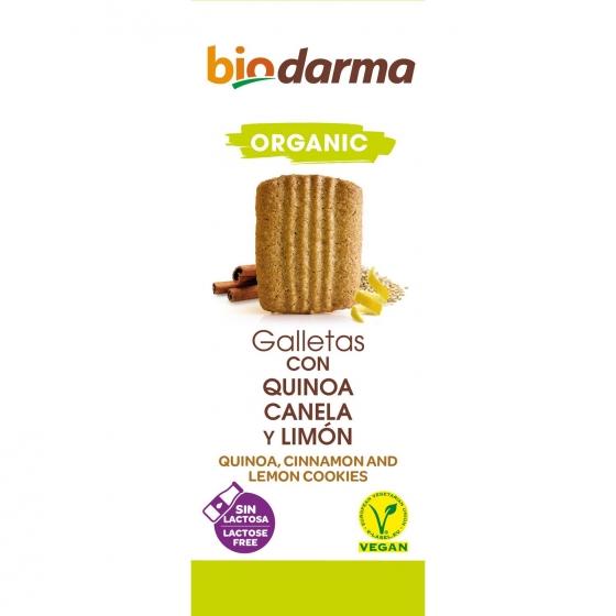 Galletas de quinoa con canela y limón ecológicas Bio Darma sin lactosa 125 g.