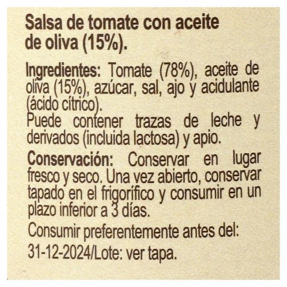 Salsa de tomate De la Abuela Carrefour tarro 300 g. - 1