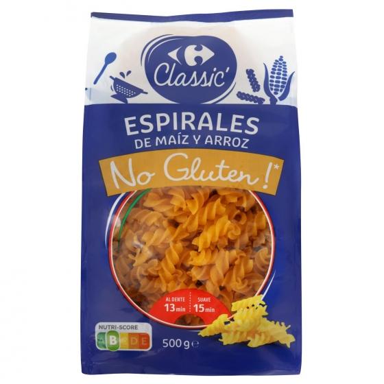 Espirales Carrefour No Gluten sin gluten 500 g.
