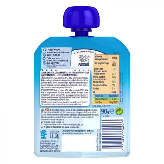 Postre lácteo de plátano y fresa desde 8 meses Nestlé Yogolino sin gluten bolsita de 90 g. - 3