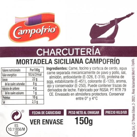 Mortadela siciliana loncheada Campofrío 150 g  - 3