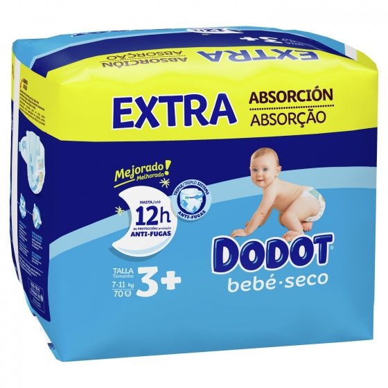 Pañales Dodot extra absorción T3+ (7kg-11kg.) 78 ud. - 1