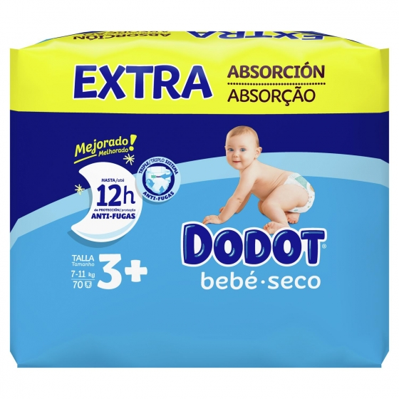 Pañales Dodot extra absorción T3+ (7kg-11kg.) 78 ud. - 3