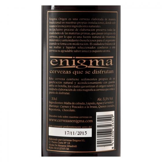 Cerveza artesana Enigma Origen botella 33 cl. - 1