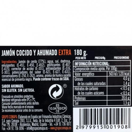 Jamón cocido extra asado a la leña loncheado De Antaño 180 g - 1