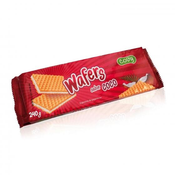 Galletas de barquillo sabor coco Wafers 240 g.
