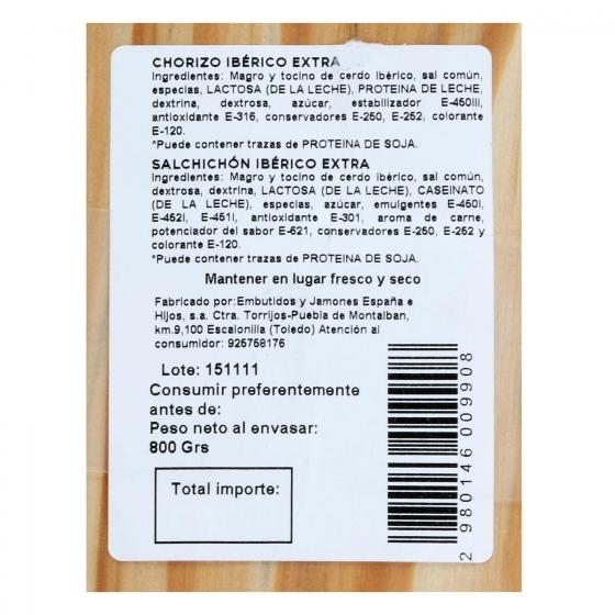 Lote 2 embutidos ibericos cebo pieza: chorizo y salchichón Emb. España 800 g - 3
