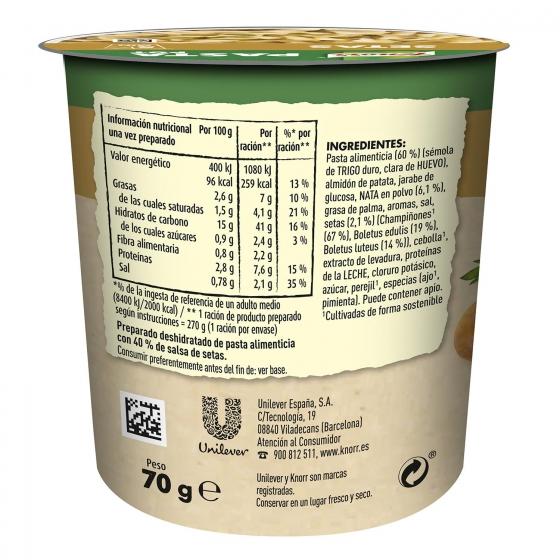 Pasta con salsa de setas Knorr 70 g. - 1
