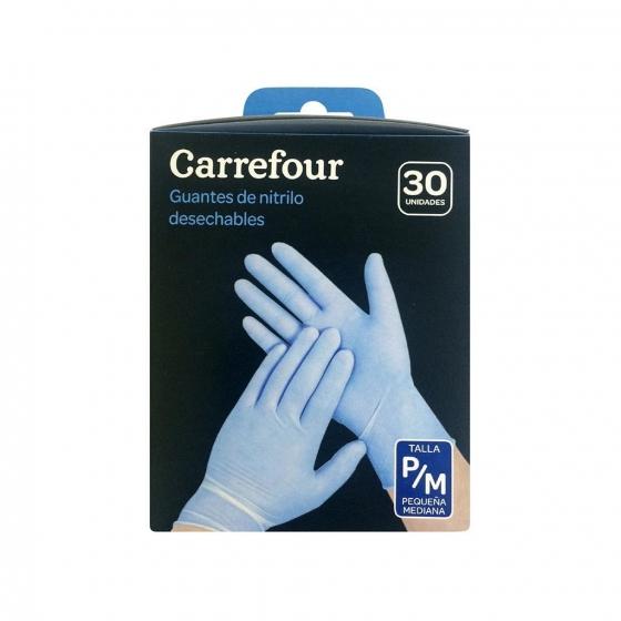 30 Guantes desechables de Nitrilo Carrefour  P/M - Azul