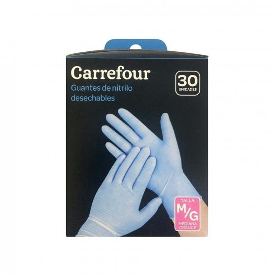 30 Guantes desechables de Nitrilo Carrefour  M/G - Azul